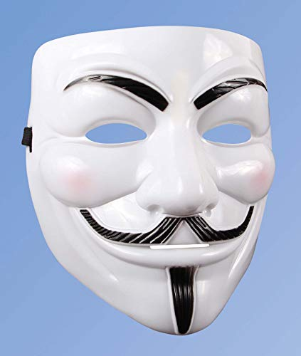 Andrea Moden 0493/4 - Anonymous Maske, Gesichtsmaske, Vollmaskierung, Accessoire, Vendetta, Motto Party, Karneval