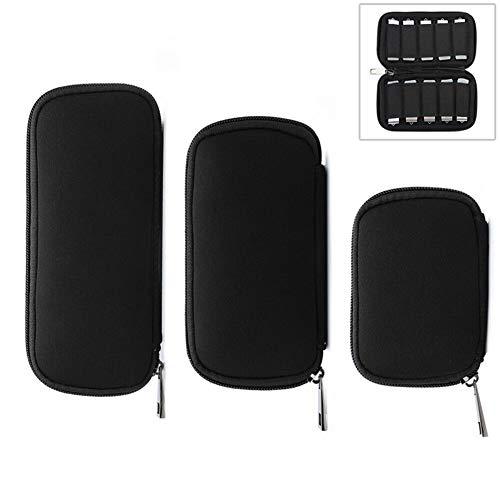 Licht en mooi, gemakkelijk te dragen. 3 in 1 Neoprene U Disk Storage Bag Cover (Black), is geschikt voor computer datakabel en muis, en het subnetwerk kan mobiele telefoon datakabel, U schijf, oortelefoon