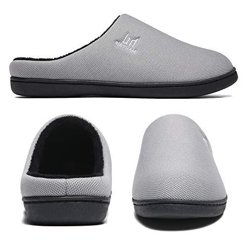 Zapatillas para hombre Espuma viscoelástica Interior Exterior Lavable Invierno Cálido Antideslizante Zapatos de casa Inicio Suela de goma ligera Gris Talla 44 45