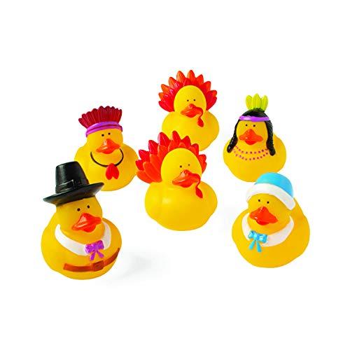 Fun Express Rubber Duckie Ducky Thanksgiving Ducks Party Favors Set (12 Piece)
