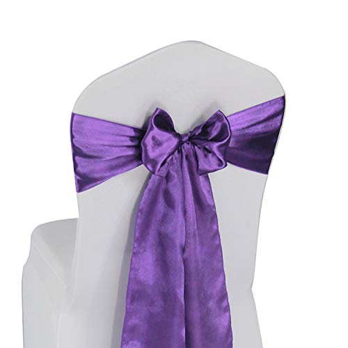 Purple Satin Chair Sashes Bows - 50 pcs Wedding Banquet Party Event Decoration Chair Bows (Purple, 50)