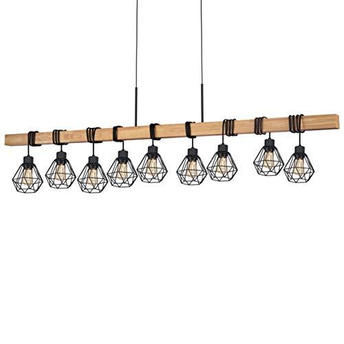 EGLO Townshend 5 lámpara colgante, 60 W, Schwarz, Braun