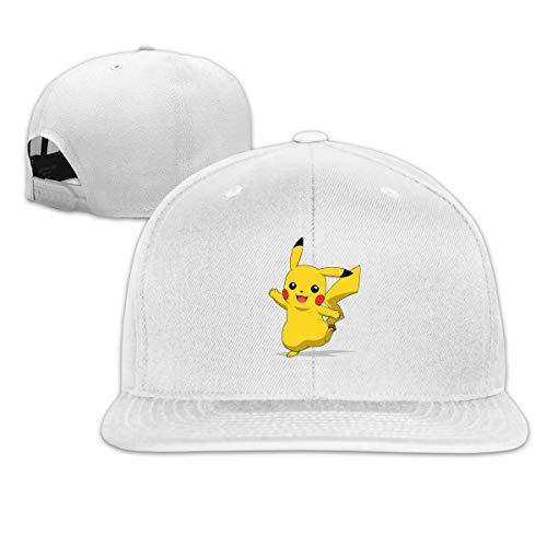 Aosepangpi Poke-Mon gorra de béisbol ajustable para hombre y mujer, visera plana personalizada, diseño de impresión gráfica, color negro Blanco blanco Taille unique