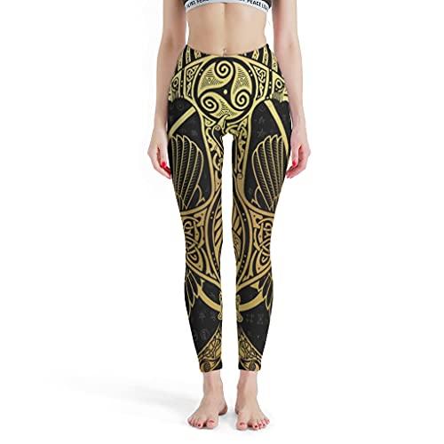 kikomia Pantalones de yoga vikingos Odin con cuervo Martillo Trisceli Leggings para mujer, delgados, atléticos, Blanco2, XXXXL