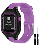 GVFM Bands Compatible with Garmin Forerunner 25, Soft Silicone Replacement Watch Band Strap for Garmin Forerunner 25 GPS Running Watch (S-Purple, Small)
