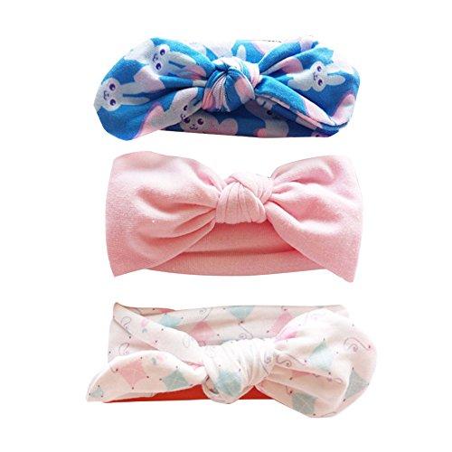 COUXILY 3 Stück Baby Mädchen Stirnband Blumen Baumwolle Haarband mit Bogen für 0-24 Monaten (D02)