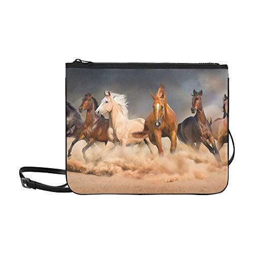 WYYWCY Horse Herd Run Desert Sand Storm Benutzerdefinierte hochwertige Nylon Slim Clutch Bag Cross-Body Bag Umhängetasche