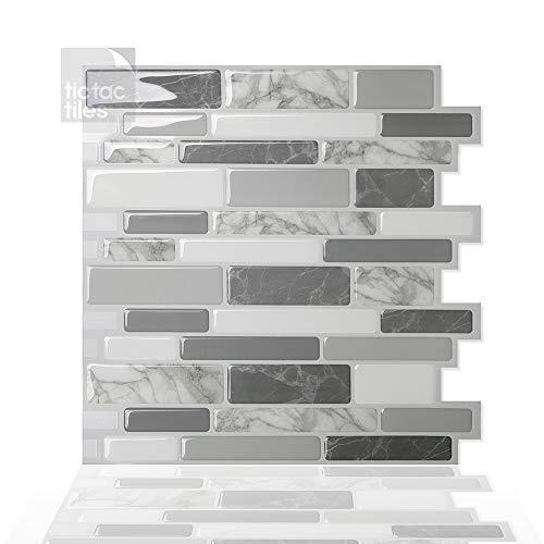 Tic Tac Tiles 30cm x 30cm, 10 Láminas 3D Azulejos Adhesivo Azulejos de la pared para Cocina y Baño - Polito Gris