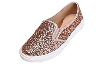 FEVERSOLE Women s Fashion Slip-On Sneaker Casual Flat Loafers Rose Gold Size 8.5 M US