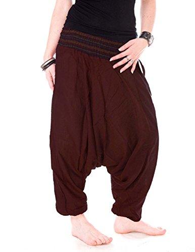 Vishes - Alternative Bekleidung - Baumwoll Haremshose mit gestreiftem Bund Dunkelbraun