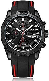 Megir Mens Quartz Watch, Chronograph Display and Silicone Strap - 2055G
