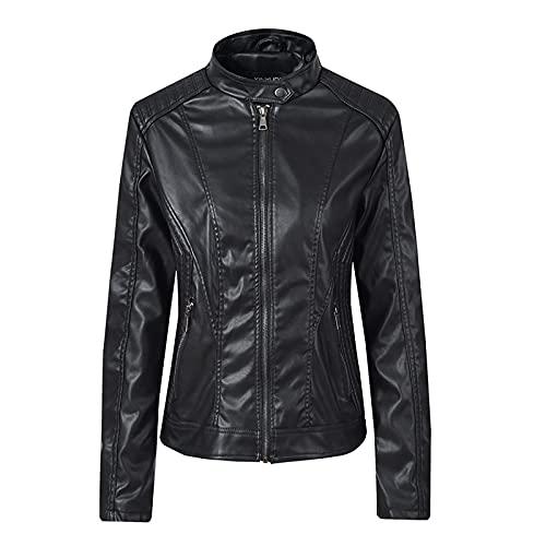 Leather Tops for Women Long Sleeve Crop Tops for Women Faux Leather Biker Coat Trendy Casual Zipper Motocross Jackets Black