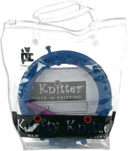 Provo Craft Knifty Knitter Small Round Loom With Hook & Pick Tool-Blue 4-3/4' Diameter