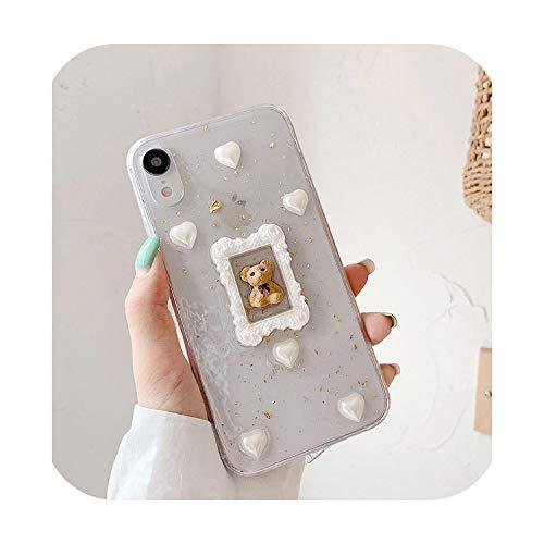 Carcasa para iPhone 11 Pro XS Max XR X, con pegamento de gota de Bling Claro para iPhone 7 8 Plus se 2020, carcasa de oso para iPhone Xsmax