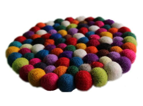 Maharanis Fairtrade Filz Untersetzer Topf Untersetzer kunterbunt 22 cm handgefertigt aus reiner Wolle