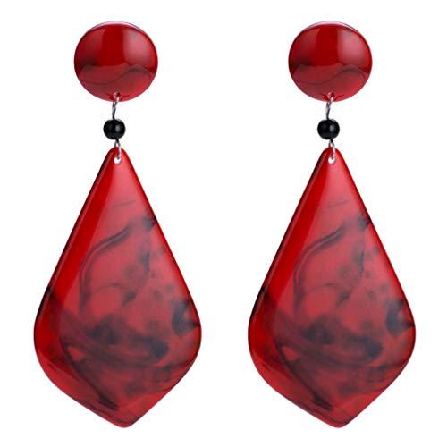 Yazilind Ohrstecker Frauen Wunderschöne Ohrring Nachahmung Marmor Stein Ohrring Modeschmuck Edelstein zubehör (rot)