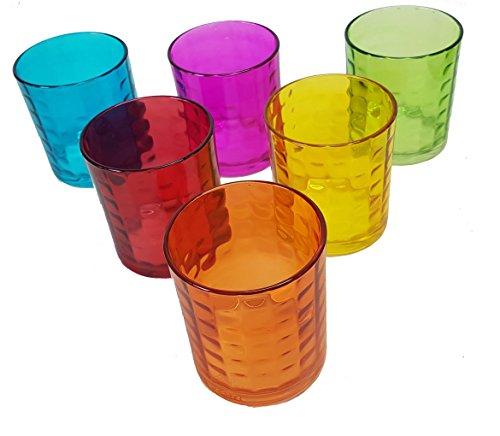 takestop® Juego de 6 vasos de colores Cube B2251/0192 de cristal de...