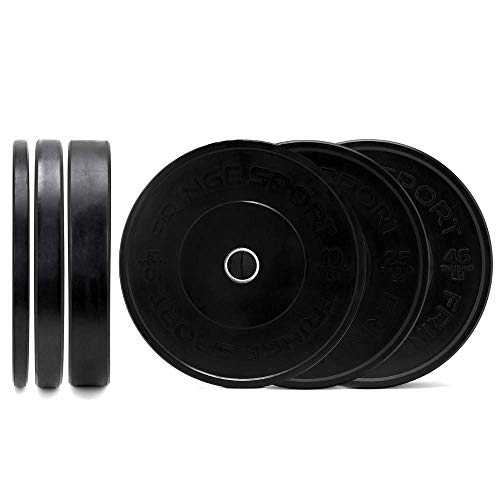 160 Lbs Bumper Plates Set / Virgin Rubber, Low Bounce, Odorless Premium Olympic Weight Plates for Crossfit Training / Weight Lifting / Home Gym By Fringe Sport Sold in Pair of 10 lbs, 25 lbs, 45 lbs