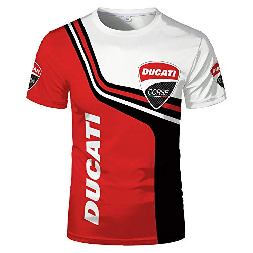 KeepFire Herren Kurzarm Hemden Für Ducati 3D-Druck-Kontrastfarben Golf Tennis T-Shirt Baumwolle Casual Summer Super Weiches Atmungsaktives Sweatshirt T-Stück Tops A-Medium