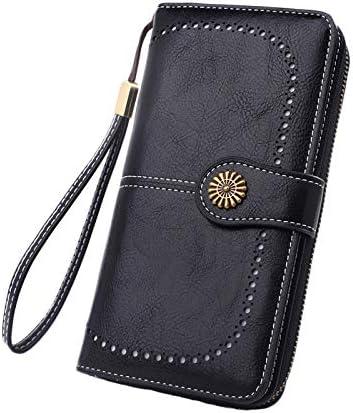 Andongnywell Women's RFID Blocking Large Capacity Leather Clutch Zip Around Wristlet Wallet Travel Purse (Black)