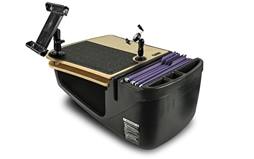 AutoExec AUE18200 GripMaster Car Desk Birch Finish with Built-in 200 Watt Power Inverter, Phone Mount and Tablet Mount