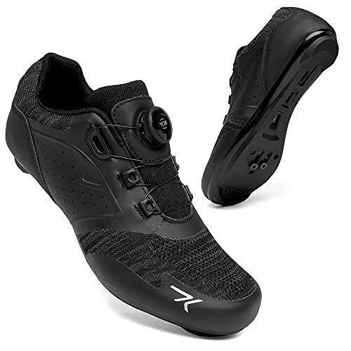 KUXUAN Zapatillas de Ciclismo Hombres Mujeres Road SPD Bike Zapatillas de Ciclismo Spin Shoestring Compatible con Zapatos Peloton,Black-45EU