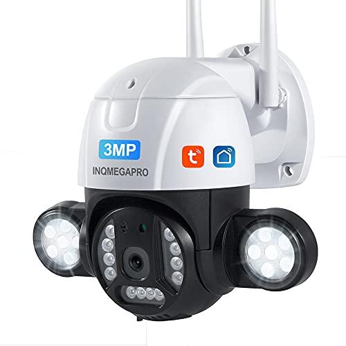 INQMEGAPRO Telecamera di sorveglianza esterna WiFi da 3 MP Rilevatore di movimento PIR del Corpo umano Visione notturna IP66 impermeabile TF/archiviazione Cloud compatibile Con Alexa/Google Home