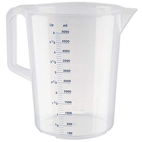 APS Messbecher 5 Liter, Ø 20,5 x H: 27,5 cm, Kunststoffbecher mit geprägter Maßskalierung außen, geschlossener Griff, 1- und ml-Liter- Einteilung, spülmaschinengeeignet