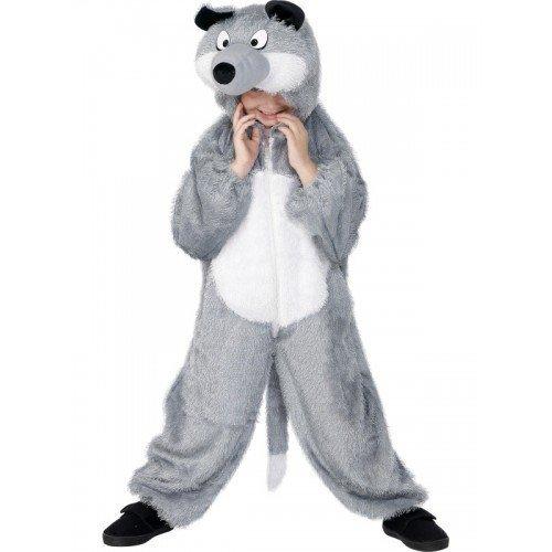 pour Enfants Enfants garçons Filles Grand MÉCHANT Loup Animal Sauvage Livre Jour Halloween Gris Combinaison Onesie Costume déguisement Costume - Gris, 7-9 Years