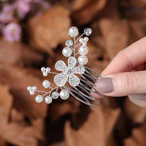 Zoestar Peines para el pelo de novia con flores y cristales plateados, accesorios para el pelo para mujeres y niñas