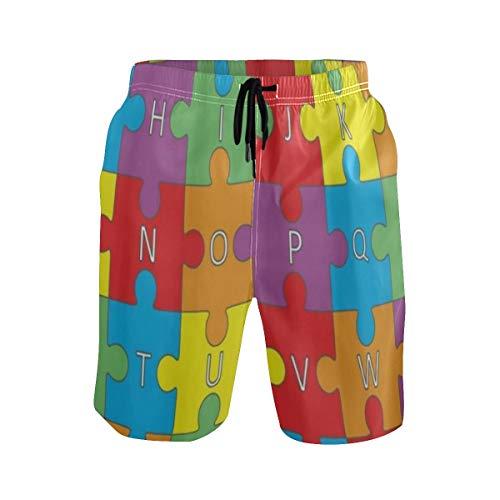 Preisvergleich Produktbild LISNIANY Badehose für Herren, Mehrfarbiges Alphabet Buchstaben Puzzle Kinder pädagogisch, Badeshorts für Männer Surfen Strandhose Schwimmhose(XL)