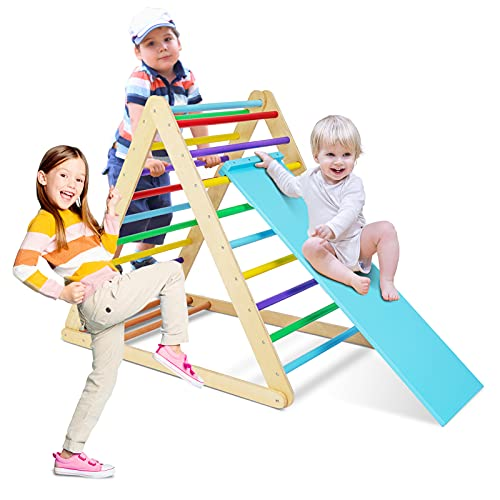 GOME Foldable Climbing Triangle Ladder with Ramp, 2-in-1 Wooden Triangular Climber for Climbing and Sliding, for Children Boys Girls Indoor and Outdoor Use, Toddlers Climbing Toys, Muticolored