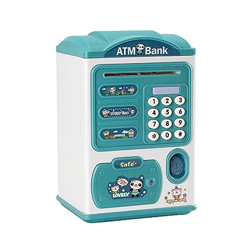 Hucha inteligente de ahorro de música, cajero automático, cajero automático, banco de monedas para niños, caja de bloqueo con código de seguridad, rollo de dinero automático para niños, adecuado para