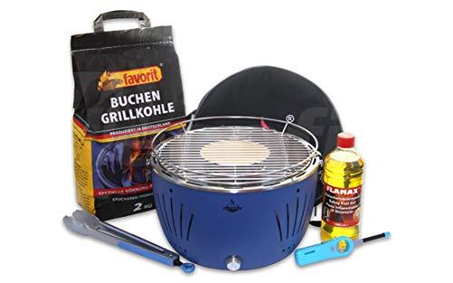 Holzkohle Tischgrill TULSA - Blau - mit USB Ladeanschluss im Super Pack mit viel Grillzubehör und Buchen-Holzkohle zum Sofortstart