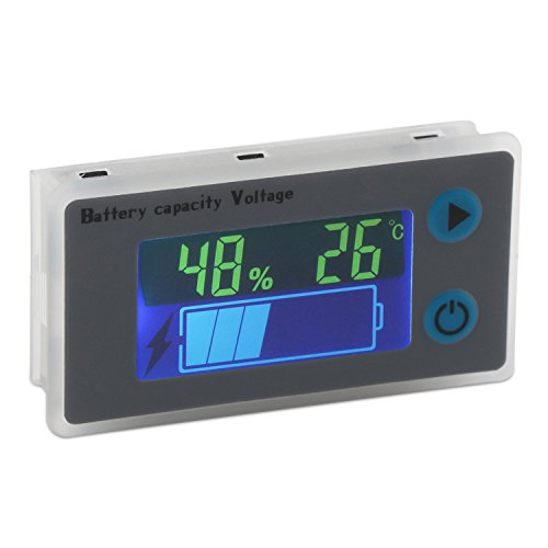 Battery Monitor DROK 10100V Digital Battery Capacity Tester Percentage Level Voltage Temperature Switch Meter Gauge 12V 24V 36V 48V LCD Display Marine RV Battery Power Indicator Panel
