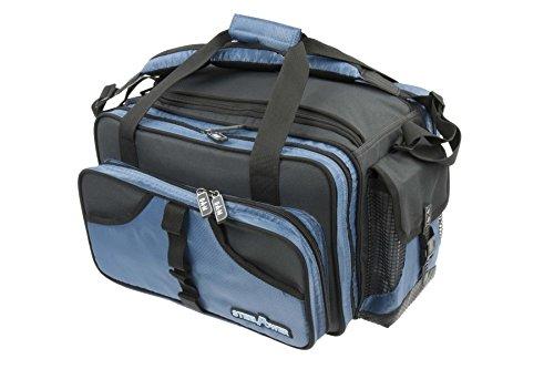 DAM STEELPOWER Blue - Pilk- und Ködertasche, 18 PVC Röhren, 2 Boxen, viele Fächer, Schultergurt, wasserfester Anti-Rutschboden, 50x35x30cm