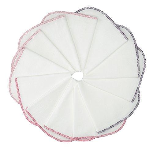 Molton Flanell Baby Waschlappen MIT SCHLAUFE- 12er Set, weiß-rosa, 30x30cm I BESTE QUALITÄT - 100% Baumwolle, schadstoffgeprüft, ÖKO-TEX STANDARD 100, kochfest bei 95°C, robuste Naht, sehr weich