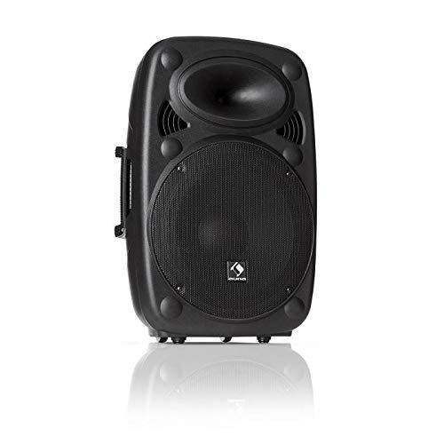auna SLK-12-A - Altavoz Activo PA , Equipo portátil , Altavoz Vertical , 30 cm , 700 W MAX , Tecnología XMR Bass , Bluetooth , USB , SD , MP3 , Entrada y Salida de línea , Conector de Brida , Negro