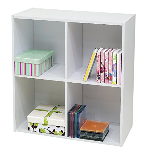 Kings Brand Furniture White Wood 4 Cube Organizer Storage Bookcase