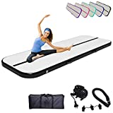 Air Track Gymnastics Mats Tumbling Mat 10ft 13ft 16ft 20ft Air Mat 4/8 Inches Thickness with Electric Air Pump Air Barrel Roller Folding Storage for Home (3m, Black)