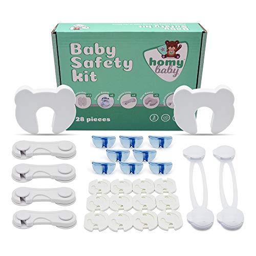 Homybaby, Kinder Sicherheitsset Baby - 28 Stück | 12 Kindersicherung Steckdose, 8 Eckenschutz, 4 Schranksicherung Baby, 2 Sicherheitsschloss für Schränke und Schubladen, 2 Türstopper Baby