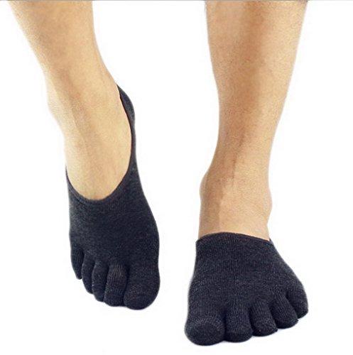 ACME - Cinq Orteils Chaussettes de Yoga Gym Pilates Sport en Coton pour Homme Gris foncé