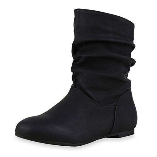 SCARPE VITA Damen Schlupfstiefel Leder-Optik Stiefeletten Bequeme Schuhe 164107 Schwarz 41