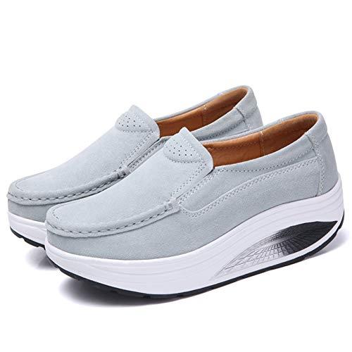 Zapatos de tacón Alto de Moda Slip On Ladies Primavera Otoño Plataforma Gruesa Durable Cuero Suave Street Walking Zapatos de Trabajo con Punta Redonda
