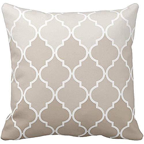 Throw Pillow CTeal Morocan Trendy Chic Girly Cream Brown Quatrefoil Elegant Pillow Case Decoración para el hogar Square Pillowcase