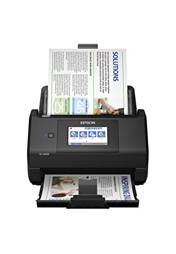 """Epson Workforce ES-580W Wireless Color Duplex Desktop Document Scanner for PC and Mac with 100-sheet Auto Document Feeder (ADF) and Intuitive 4.3"""" Touchscreen"""