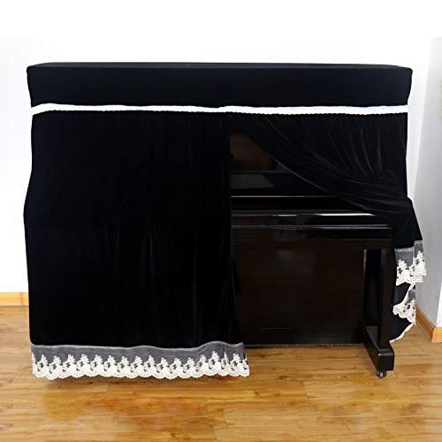 Cutfouwe Klavier Abdeckung Piano Abdeckung,Colorfast Piano Staubdicht Dekoriert Cover, Klaviertastatur Abdeckung,Verdicken Staubschutz Klavier Abdeckung,Schwarz,153x33x120cm