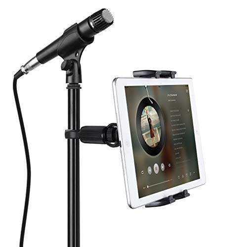 """JUBOR Tablet Mounts for Microphone Stands, Microphone Tablet Holder, Mic Music Stand for iPad, iPad Pro, iPad Mini, 2, 3, iPad Air, iPhone Smartphone 4.7-12.9"""" Tablets"""