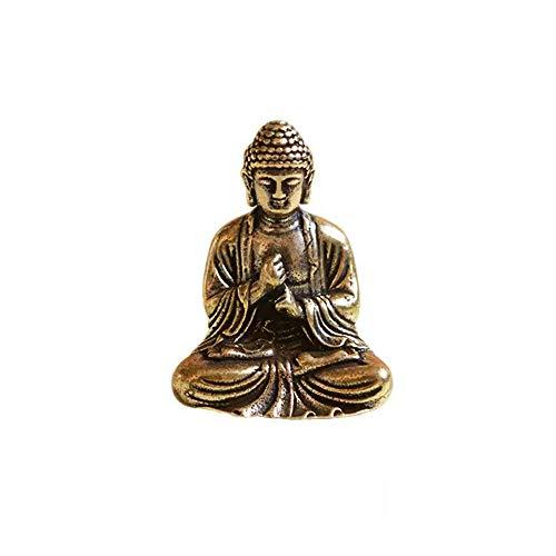 Wixine 1Pcs Old Brass Hand Carved Shakyamuni Buddha Small Statue