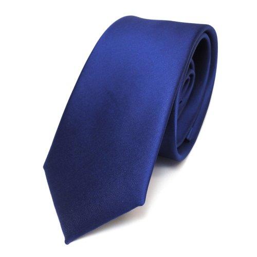TigerTie schmale Satin Krawatte in blau royalblau einfarbig